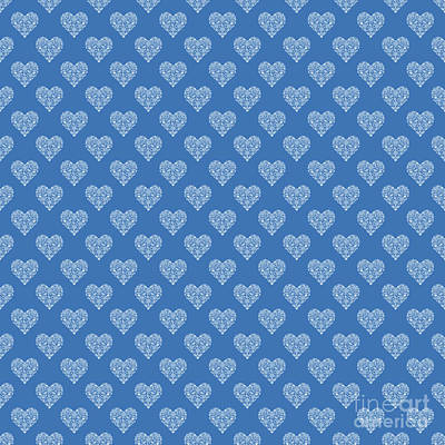 Black And White Flower Photography - Azure Strong Blue Heart Lace Flowers Pattern by Sharon Mau