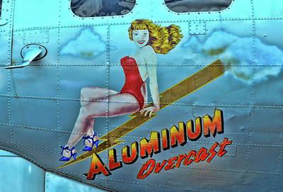 Photograph - B - 17 Aluminum Overcast Pin-up by Allen Beatty