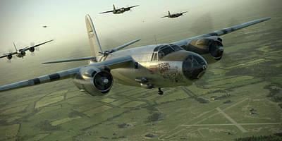 Digital Art - B-26 Feudin Wagin by Robert Perry