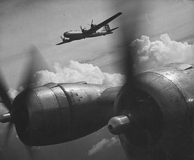 Photograph - B-29s In Flight & Above Clouds On Bombi by Loomis Dean