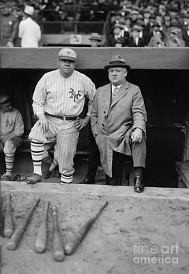 Babe Ruth Wall Art - Photograph - Babe Ruth And John Mcgraw New York by Jon Neidert