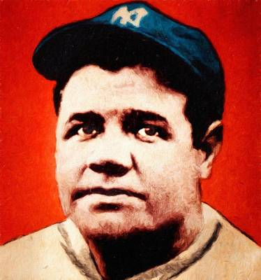 Painting - Babe Ruth, Portrait by Vincent Monozlay