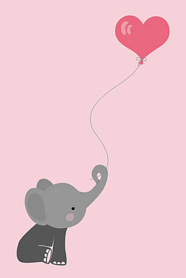 Animals Digital Art - Baby elephant with balloon by Mihaela Pater