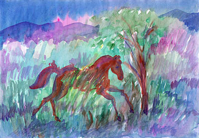 Painting - Baby Horse Running In The Meadow by Dobrotsvet Art