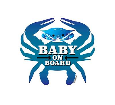 Digital Art - Baby On Board, Blue Crab by Joe Barsin