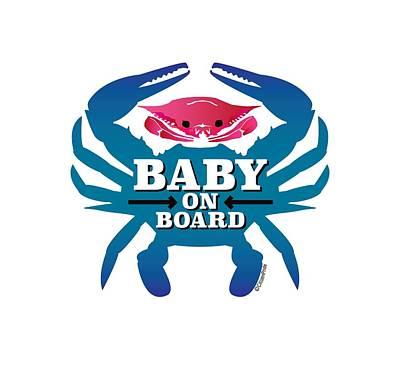 Digital Art - Baby On Board, Pink Crab by Joe Barsin
