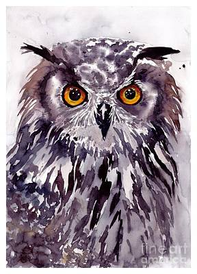 Hawk Wall Art - Painting - Baby Owl by Suzann's Art
