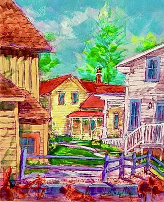 Painting - Back Yard View by Les Leffingwell