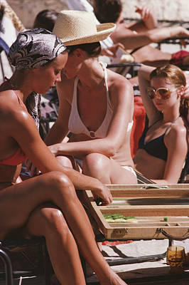 Backgammon Photograph - Backgammon By The Pool by Slim Aarons