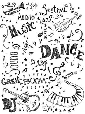 Background Made Up Of Music Doodles Art Print by Kalistratova
