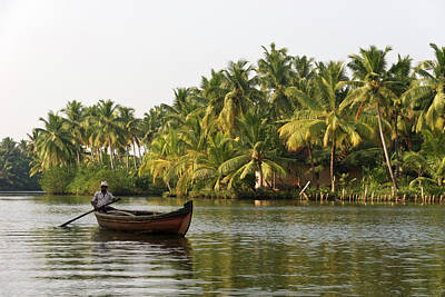 Kerala Photograph - Backwaters Canal, Boatman by John Elk Iii
