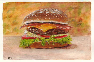 Painting - Bacon Cheese Burger by Barry Jones