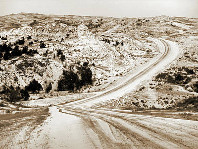 Photograph - Badlands Road With Snow by Cris Fulton