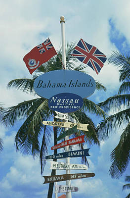 Photograph - Bahamas Signpost by Slim Aarons