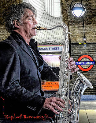 Jazz Mixed Media Royalty Free Images - Baker Street Sax Royalty-Free Image by Mal Bray