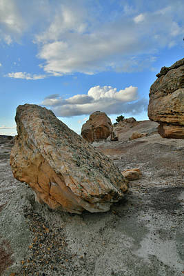 Photograph - Balanced Boulders Under Evening Clouds At Bentonite Site by Ray Mathis