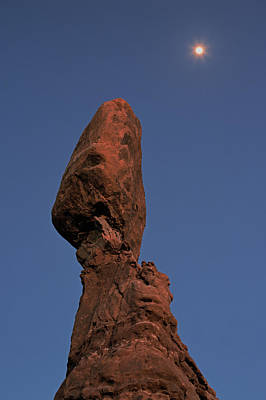 Photograph - Balanced Rock Moon by Tom Daniel