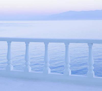 Balcony Photograph - Balcony Railing And Sea And Mountains by David Madison