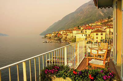 Photograph - Balcony View Of Sunset 2, Lake Como, Italy by Dawn Richards