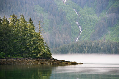 Eagle Photograph - Bald Eagle And Waterfall, Glacier Bay by Mint Images - Art Wolfe