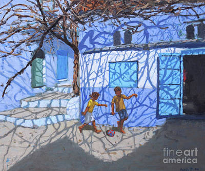 Painting - Ball Games In The Street, Chefchaouen, Morocco by Andrew Macara