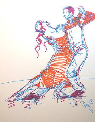 Drawing - Ballroom Dancing Three Colour Sharpie Drawing by Mike Jory