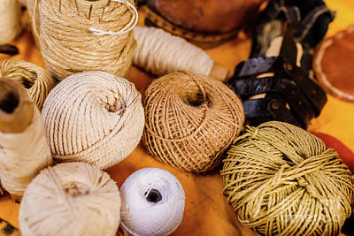 Photograph - Balls Of Yarn, Wool And Rope Of Earth Colors. by Joaquin Corbalan