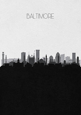 Digital Art - Baltimore Cityscape Art V2 by Inspirowl Design