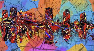 Painting - Baltimore Colorful Skyline On Map by Dan Sproul