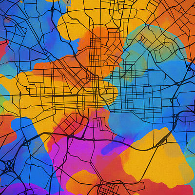Painting - Baltimore Colorful Street Map by Dan Sproul