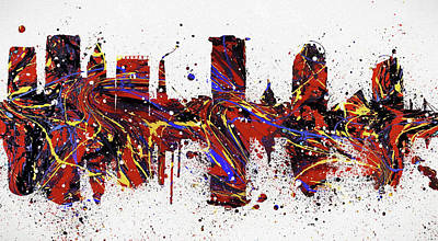 Painting - Baltimore Maryland Colorful Skyline by Dan Sproul