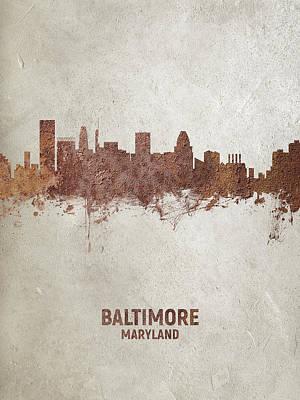 Digital Art - Baltimore Maryland Rust Skyline by Michael Tompsett