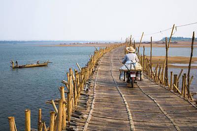 Photograph - Bamboo Bridge Over Mekong River by Guido Dingemans, De Eindredactie