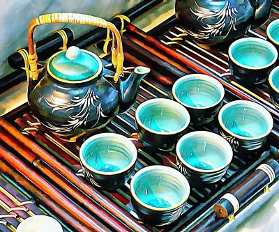 Photograph - Bamboo Handle Teapot And Cups by Dorothy Berry-Lound