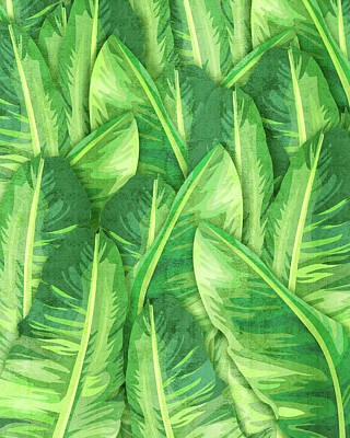 Mixed Media Royalty Free Images - Banana Leaf 1 - Banana Leaf Pattern 1 - Tropical Leaf Print - Botanical Art - Green Royalty-Free Image by Studio Grafiikka