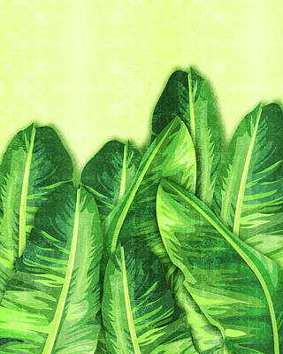 Mixed Media Royalty Free Images - Banana Leaf 2 - Banana Leaf Pattern 2 - Tropical Leaf Print - Botanical Art - Green Royalty-Free Image by Studio Grafiikka