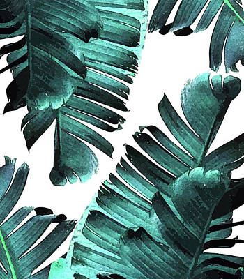 Mixed Media - Banana Leaf - Tropical Leaf Print - Botanical Art - Modern Abstract - Blue, Navy, Teal by Studio Grafiikka