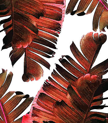 Mixed Media - Banana Leaf - Tropical Leaf Print - Botanical Art - Modern Abstract - Brown, Copper, Red by Studio Grafiikka