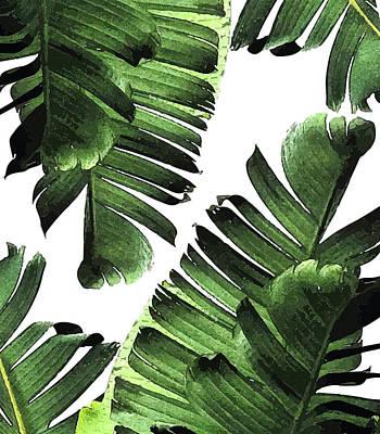Mixed Media - Banana Leaf - Tropical Leaf Print - Botanical Art - Modern Abstract - Green, Olive by Studio Grafiikka