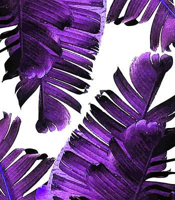 Mixed Media - Banana Leaf - Tropical Leaf Print - Botanical Art - Modern Abstract - Violet, Lavender by Studio Grafiikka