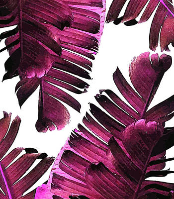 Mixed Media Royalty Free Images - Banana Leaf - Tropical Leaf Print - Botanical Art - Modern Abstract - Violet, Purple, Magenta, Lilac Royalty-Free Image by Studio Grafiikka