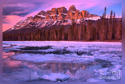 Photograph - Banff Castle Mountain Sunset T-shirt by Adam Jewell