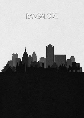 Digital Art - Bangalore Cityscape Art by Inspirowl Design