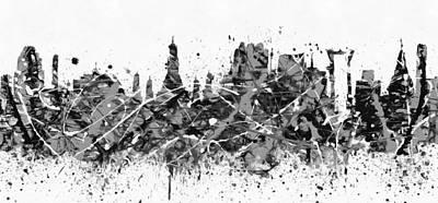 Painting - Bangkok Black And White Skyline Splatter by Dan Sproul