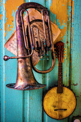 Tuba Wall Art - Photograph - Banjo And Dented Horn by Garry Gay