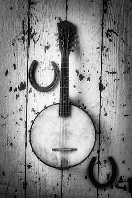 Photograph - Banjo And Horseshoes Black And White by Garry Gay