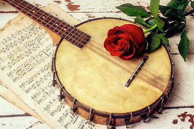 Banjo Wall Art - Photograph - Banjo And Red Rose by Garry Gay