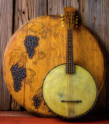 Photograph - Banjo And Wine Barrel Lid by Garry Gay