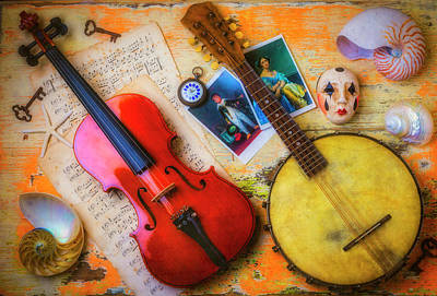 Photograph - Banjo Violin Still Life by Garry Gay
