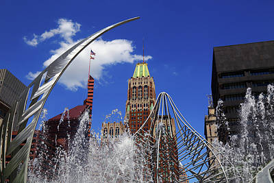Photograph - Bank Of America Building And Hopkins Plaza Fountain Baltimore by James Brunker